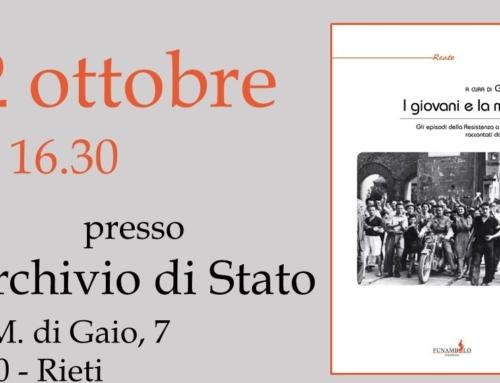"""#parlanodinoi La stampa per """"I giovani e la memoria"""", il 22 ottobre all'Archivio di Stato di Rieti"""